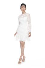 Đầm voan trắng đuôi cá tay dài