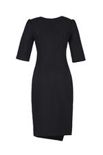 Đầm đen dáng chữ A tùng váy đắp chéo