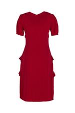 Đầm ôm nhẹ cổ chữ V phối bèo nhún