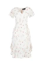 Đầm hoa chữ A tùng nhún bèo