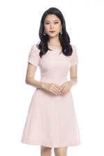 Đầm xòe tay ngắn cổ tròn