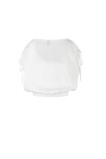 Áo trắng kiểu bo thun dây rút ở vai