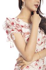 Đầm hoa voan dáng xòe phối ren