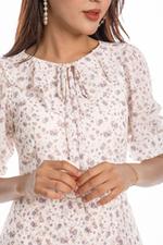 Đầm voan dáng xòe họa tiết hoa nhí