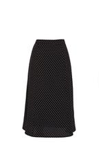 Chân váy midi chấm bi trắng đen