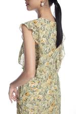 Đầm suông họa tiết hoa viền bèo