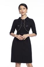 Đầm đen dáng chữ A tay lỡ kèm thắt lưng