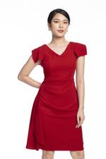 Đầm đỏ dáng chữ A phối bèo