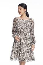 Đầm voan họa tiết dáng xòe tay dài