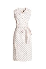 Đầm kẻ phối dây nơ eo cổ đan tông