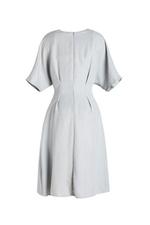 Đầm xòe cổ V phối nút tùng váy đắp chéo