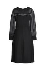 Đầm xòe đen cổ sen tay dài phối voan