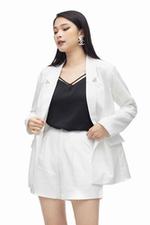 Áo blazer nữ trắng tay dài