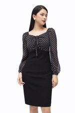 Đầm đen công sở phối chấm bi tay dài