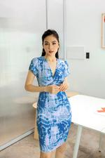Đầm thun công sở dáng ôm xoắn ngực