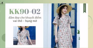 KK90-02 – Đầm đẹp che khuyết điểm vai thô - bụng mỡ cho nàng công sở